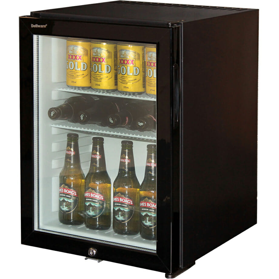 Dellware Silent 40 Litre Motel Mini Bar Fridge With Triple Glass Door And Lock DW-40T