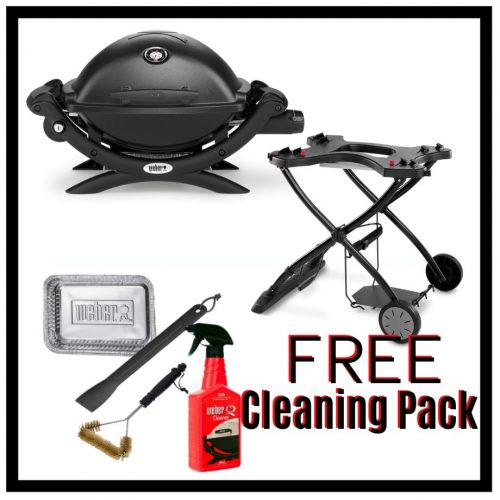 Weber Baby Q Premium 1200 - Black on Portable Trolley - FREE Cleaning Pack