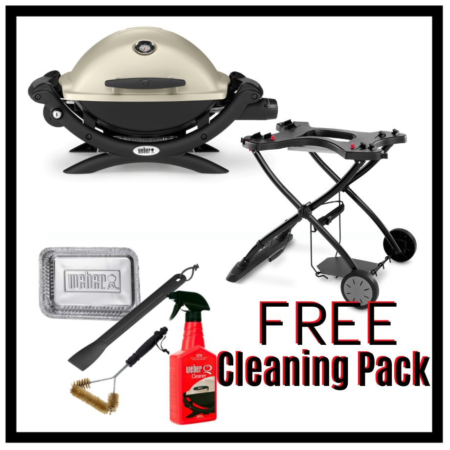 Weber Baby Q Premium 1200 - Titanium on Portable Trolley – FREE Cleaning Pack