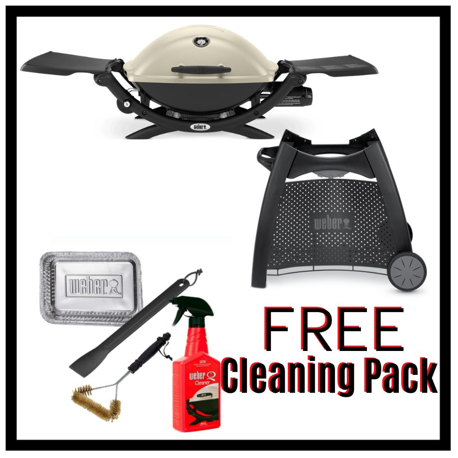 Weber Q Premium 2200 - Titanium on Patio Cart - FREE Cleaning Pack