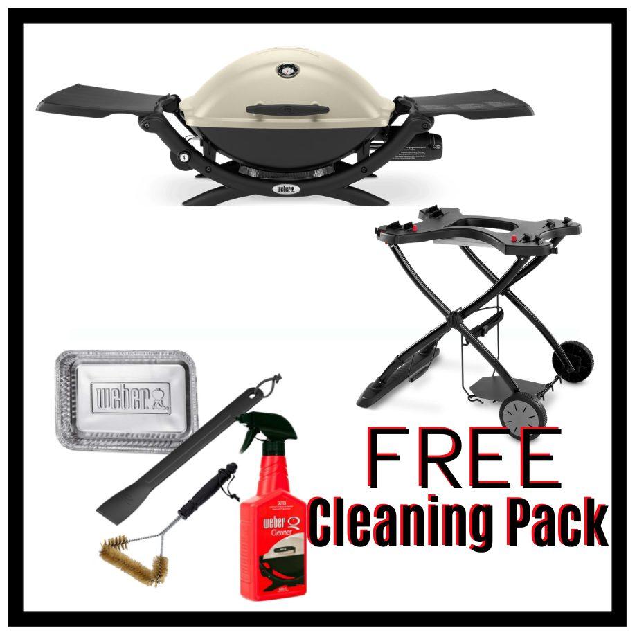 Weber Q Premium 2200 - Titanium on Portable Cart - FREE Cleaning Pack