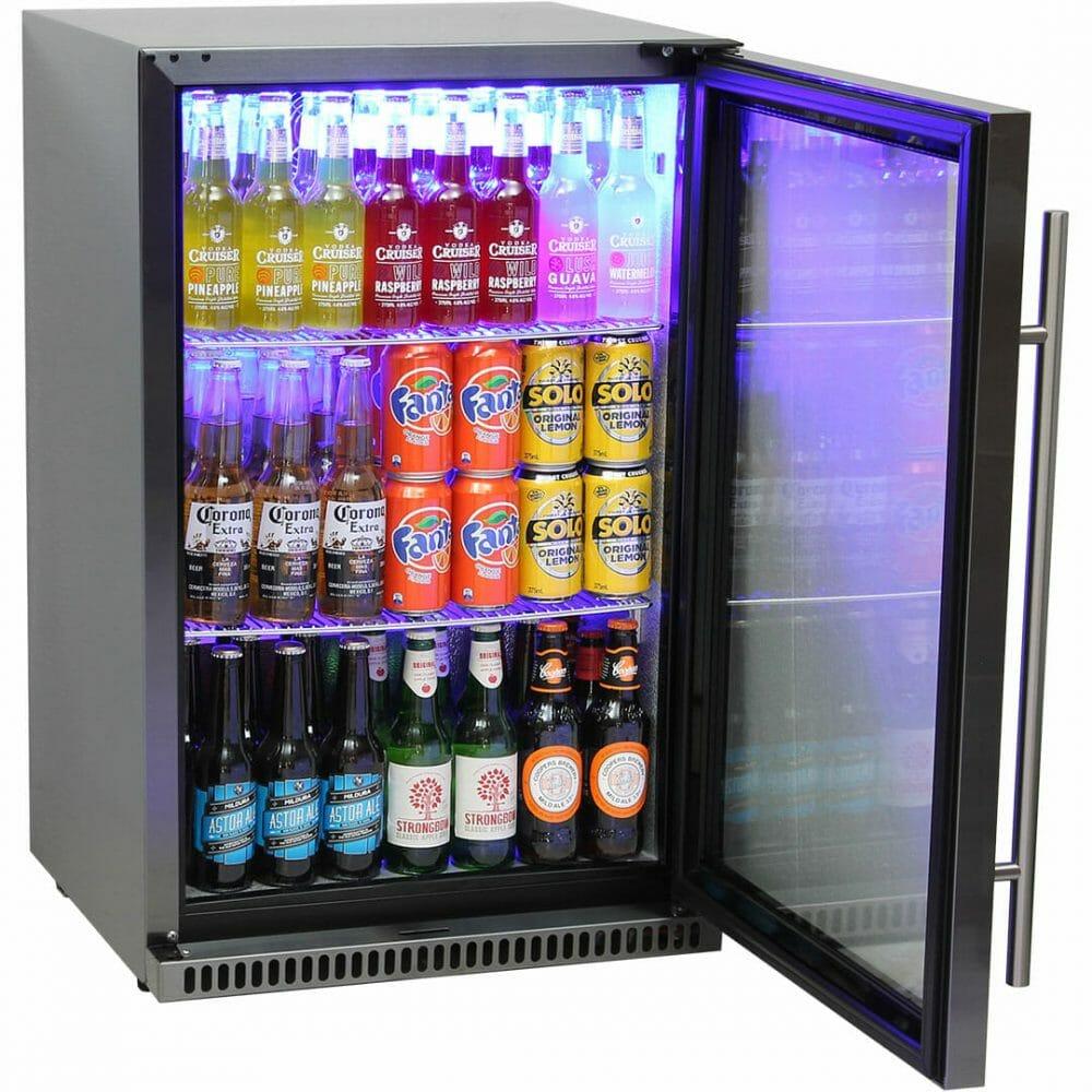 Schmick Tropical Glass Door Stainless Steel Bar Fridge 118L