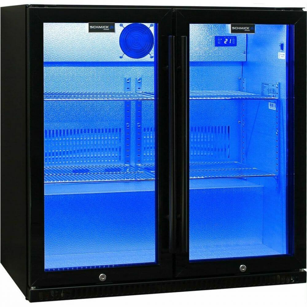 Schmick Black Bar Fridge 2 Door With Heated Glass and Triple Glazing - SK190-B