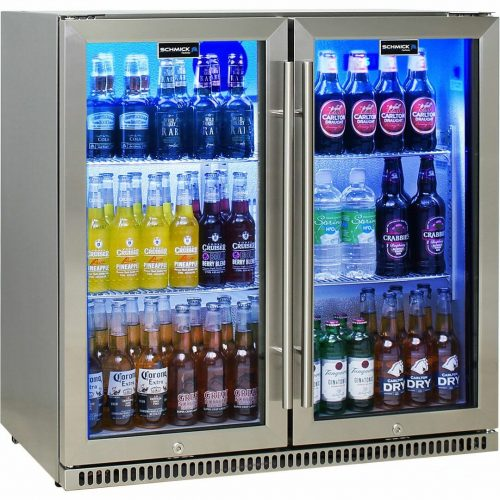 Schmick Stainless Bar Fridge 2 Door With Heated Glass and Triple Glazing