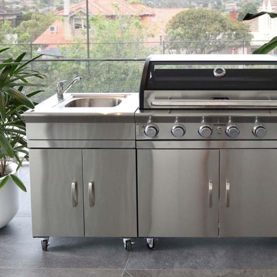 Gasmate - Avenir 6 Burner Stainless Steel LPG BBQ Kitchen