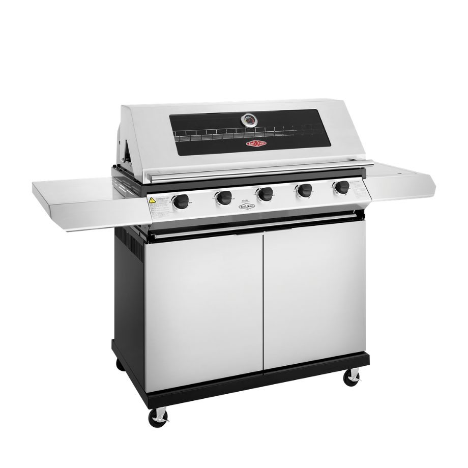BeefEater 1200 5 Burner SS - Trolley BBQ with Side Burner