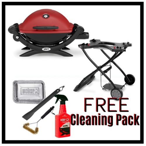 Weber Baby Q Premium 1200 - Red on Portable Trolley - With FREE Cleaning Pack