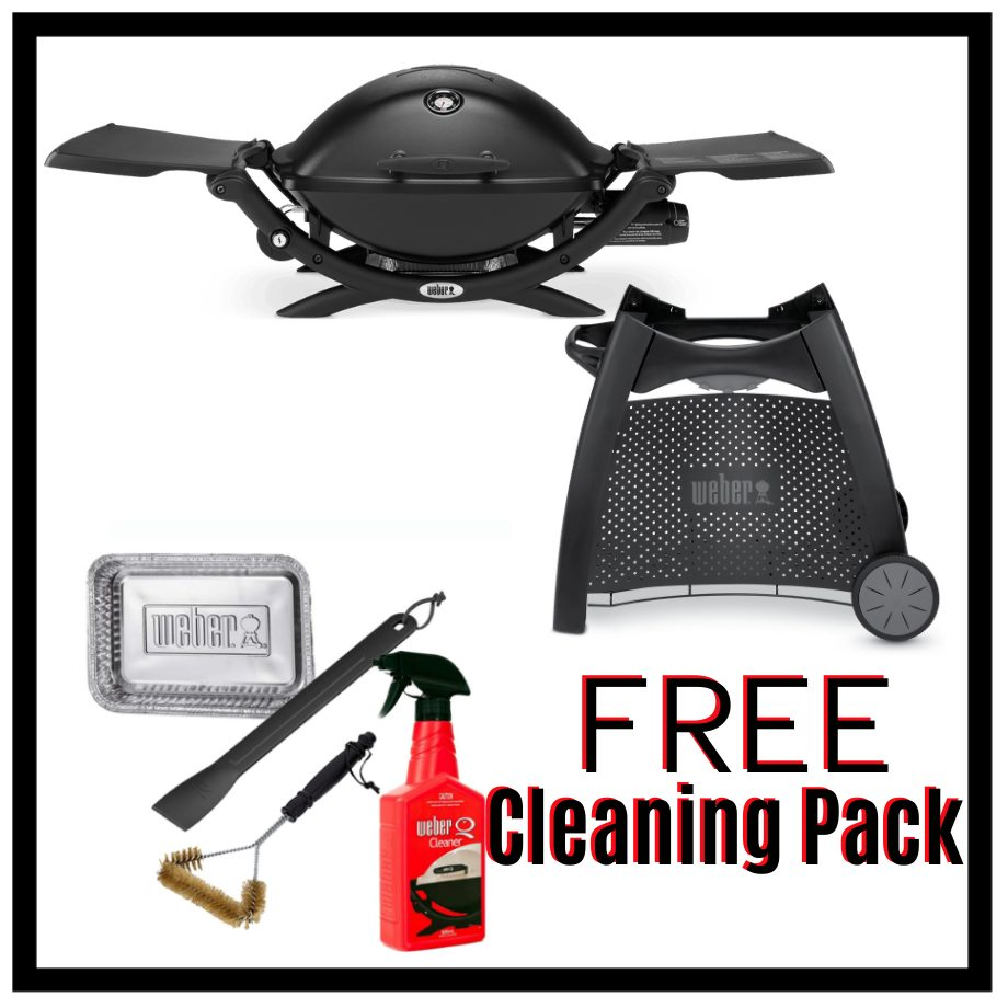Weber Q Premium 2200 - Black on Patio Cart - FREE Cleaning Pack
