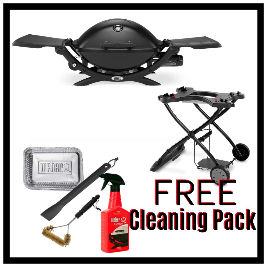 Weber Q Premium 2200 - Black on Portable Cart - FREE Cleaning Pack