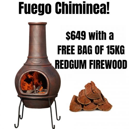 Melton Craft Fuego Chiminea - with FREE 15kg Redgum Firewood