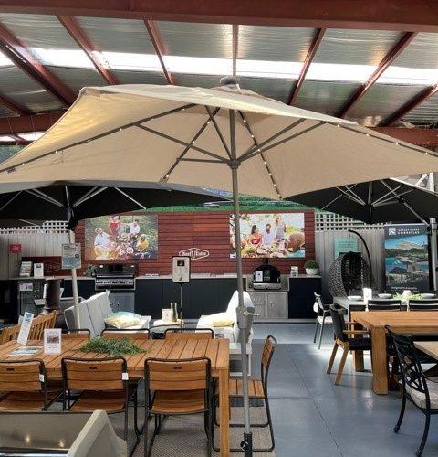 Shelta Umbrella - Lumina -  3m x 2.1m Rectangle with base - Sandstone - Ex-Display