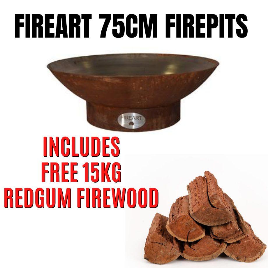 Fireart - 75cm Mild Steel Firepit with FREE 15kg Redgum Firewood