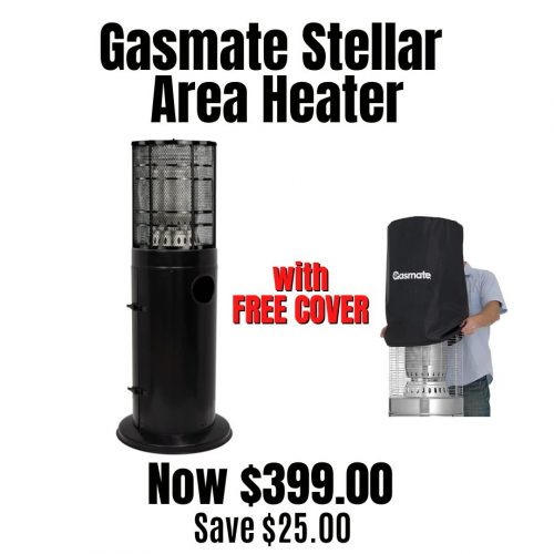 Gasmate Stellar Black Deluxe Area Heater with FREE Cover