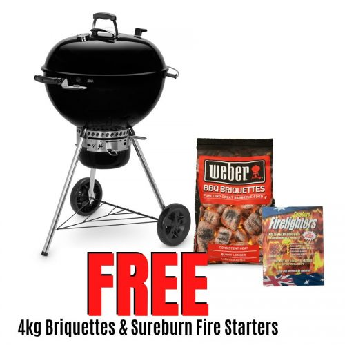 Weber 57cm Master Touch Kettle with Gourmet Barbecue System Grill - FREE 4KG BRIQUETTES AND 24PK FIRELIGHTERS