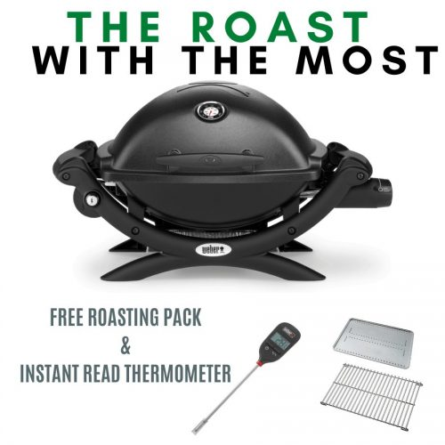 Weber Baby Q Premium 1200 - Black - FREE Roasting Pack and Instant Read Thermometer