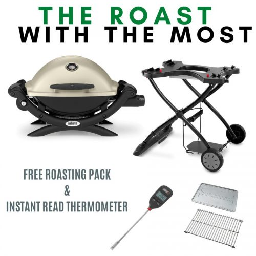 Weber Baby Q Premium 1200 - Titanium on Portable Cart - FREE Roasting Pack and Instant Read Thermometer